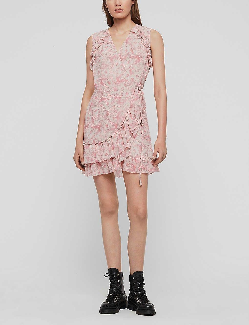 ALLSAINTS Priya Floral-print Crepe Mini Dress