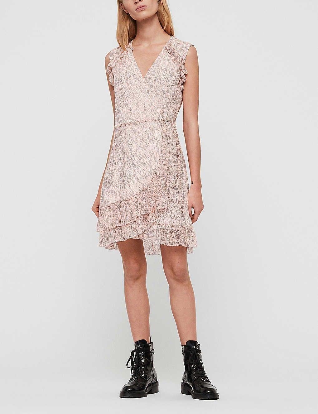ALLSAINTS Priya Rose-print Crepe Mini Dress