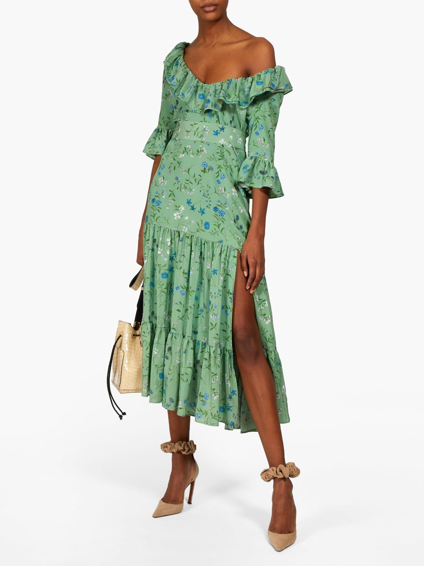 ALTUZARRA Helden Tiered Floral-print Silk Midi Dress