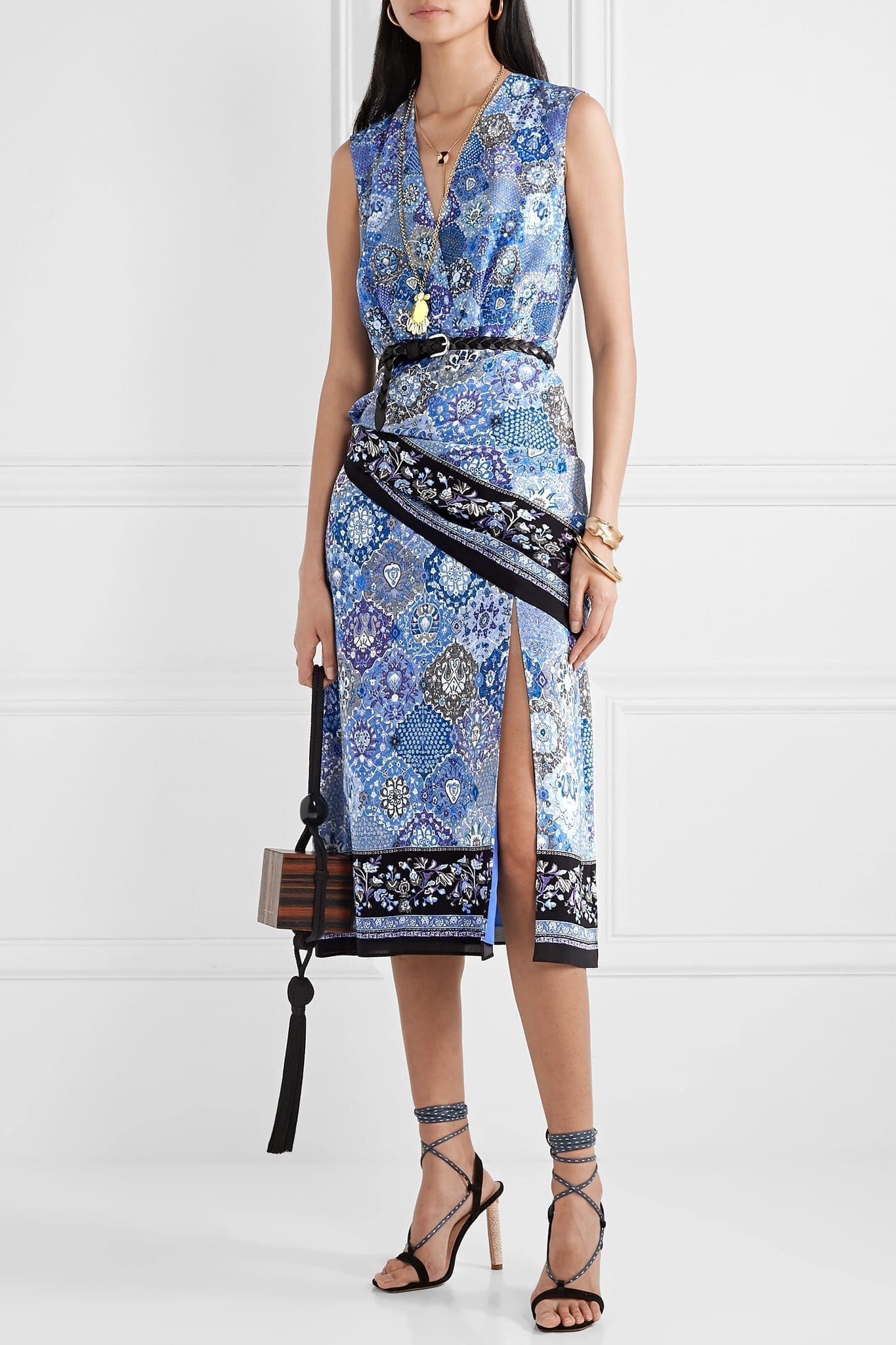 ALTUZARRA Sade Wrap-effect Printed Silk Crepe De Chine Dress
