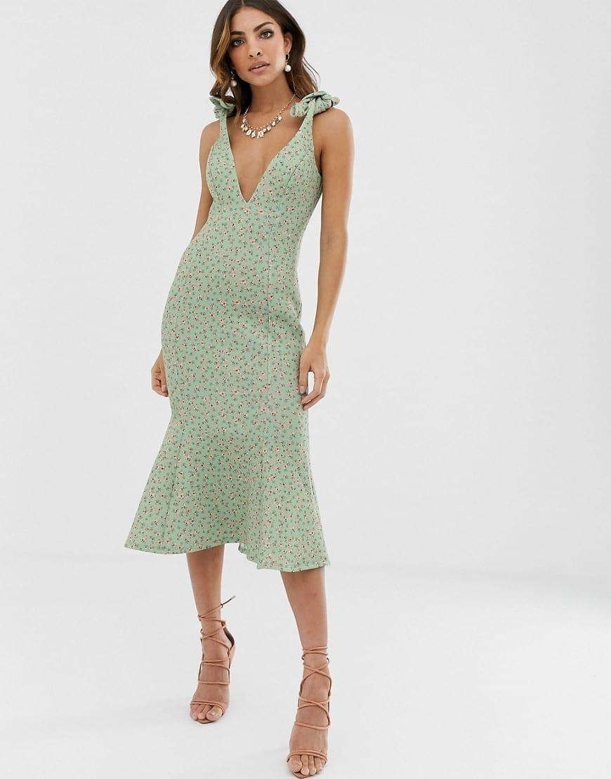 ASOS DESIGN Ditsy Floral Plunge Tie Shoulder Midi Dress