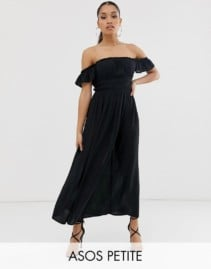 ASOS DESIGN Petite Off Shoulder Crinkle Maxi Dress