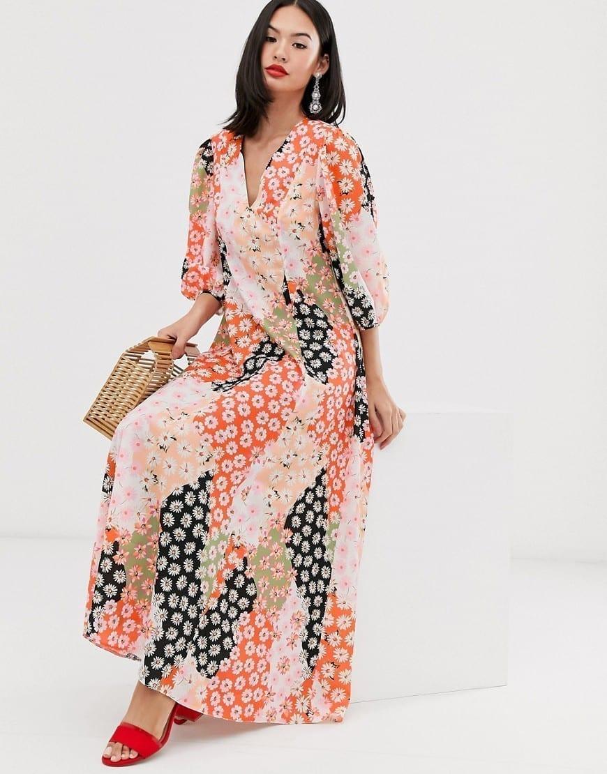 ASOS DESIGN Puff Sleeve Mixed Daisy Print Trapeze Maxi Dress