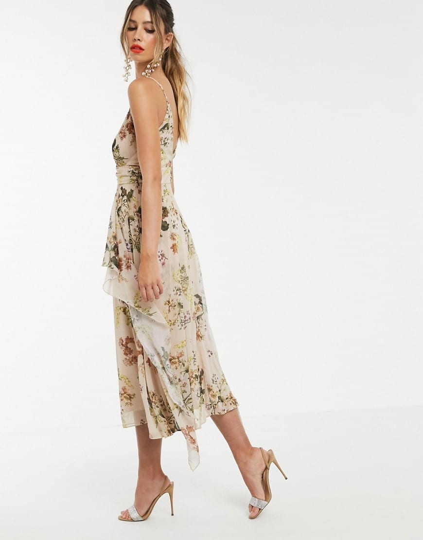 ASOS DESIGN Soft Layered Skirt And Ruched Bodice Cami Maxi Dress