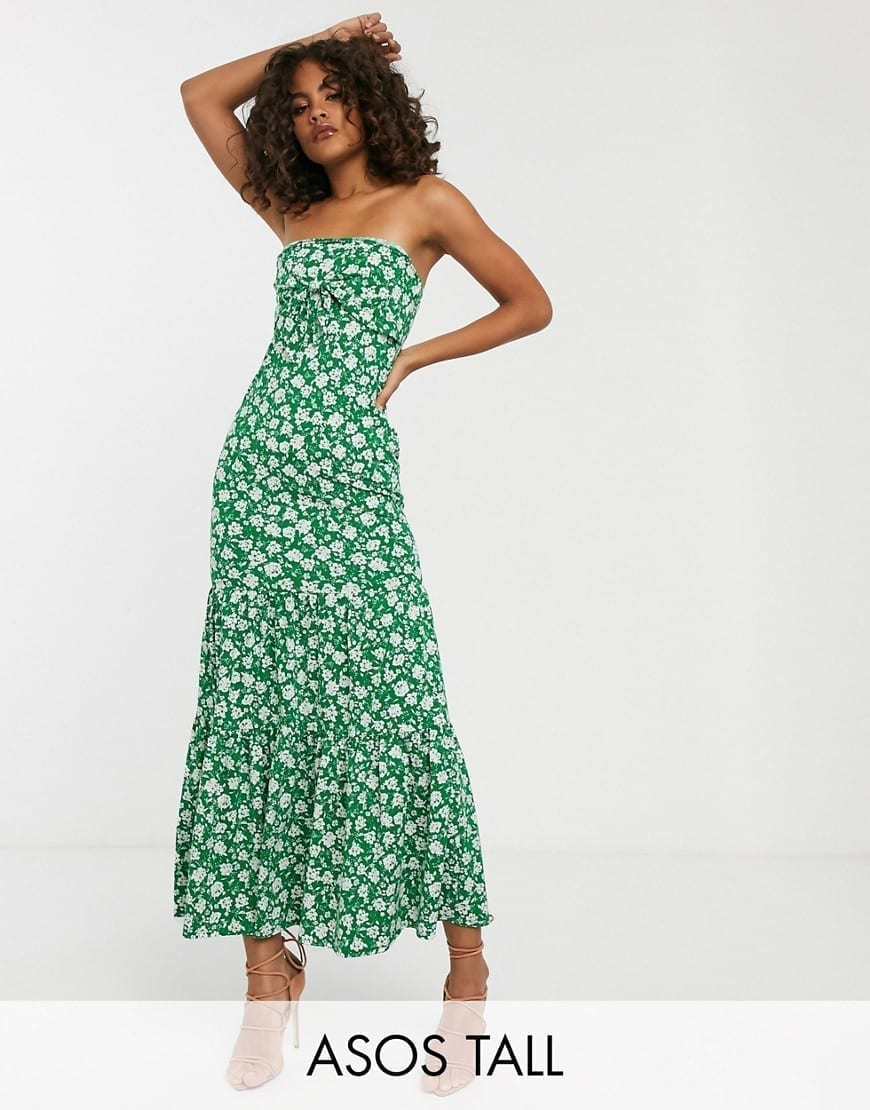 ASOS DESIGN Tall Exclusive Bandeau Tie Front Maxi Dress