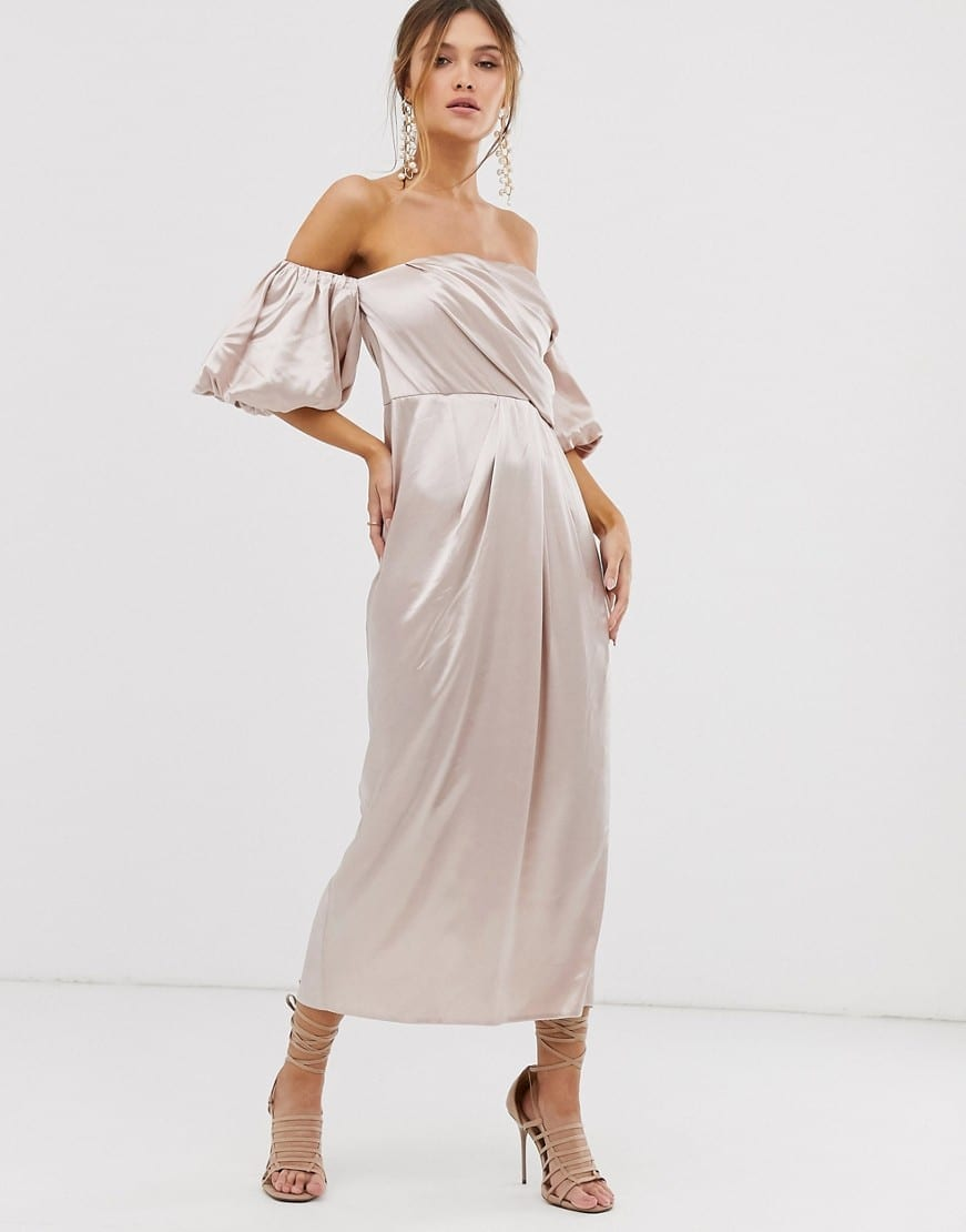 ASOS EDITION Drape Off Shoulder Midi Dress