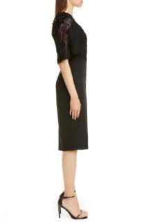 BADGLEY MISCHKA COUTURE. Badgley Mischka Couture Embellished Lace Bodice Cocktail Dress