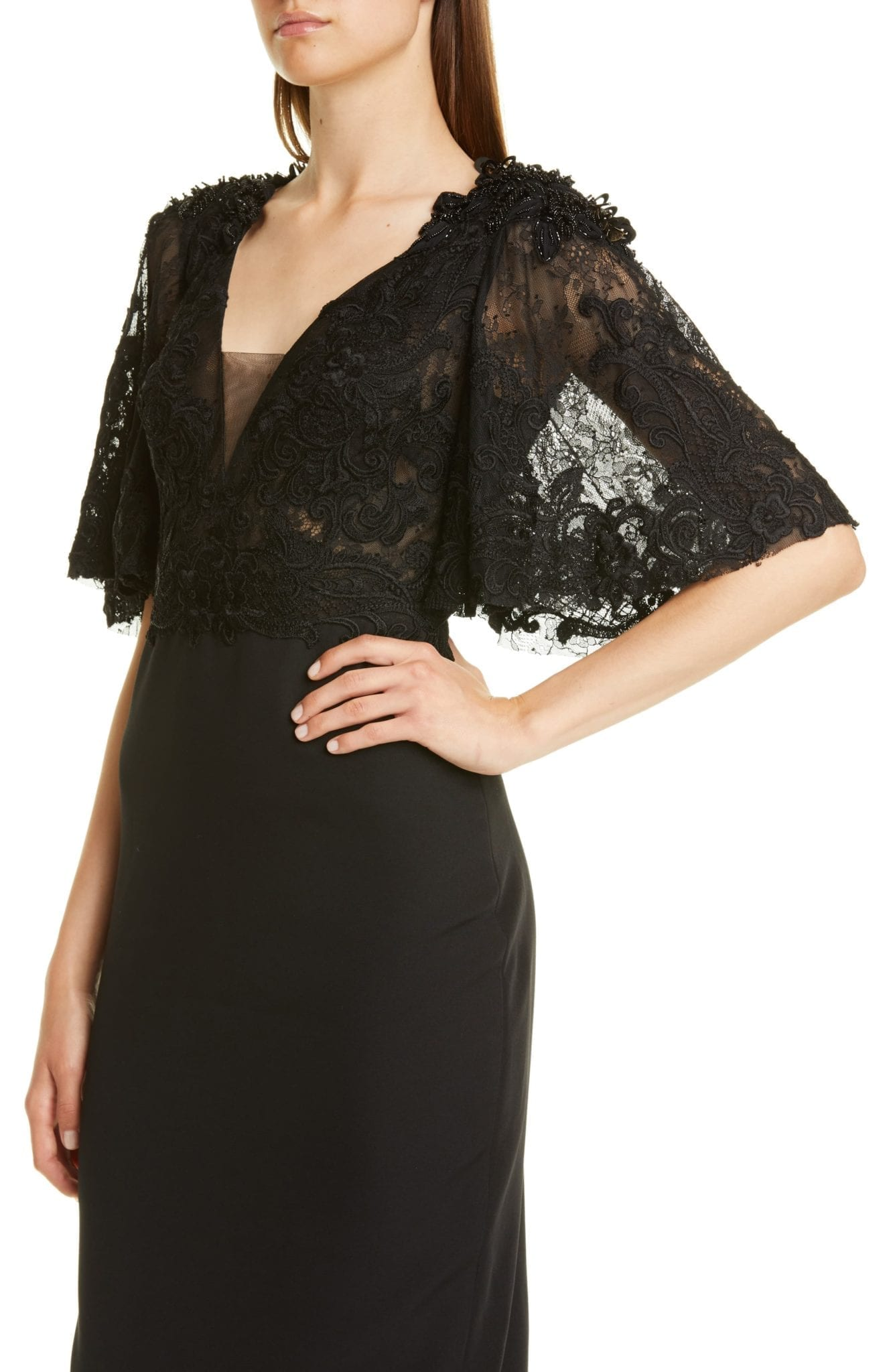 BADGLEY MISCHKA COUTURE. Badgley Mischka Couture Embellished Lace Bodice Cocktail Dress