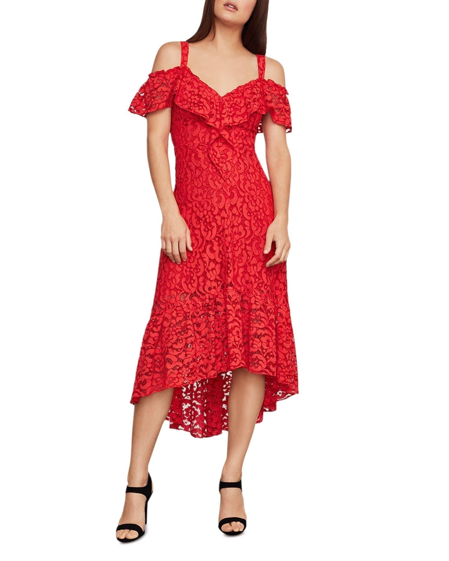BCBGMAXAZRIA Lace Cold-Shoulder Midi Dress