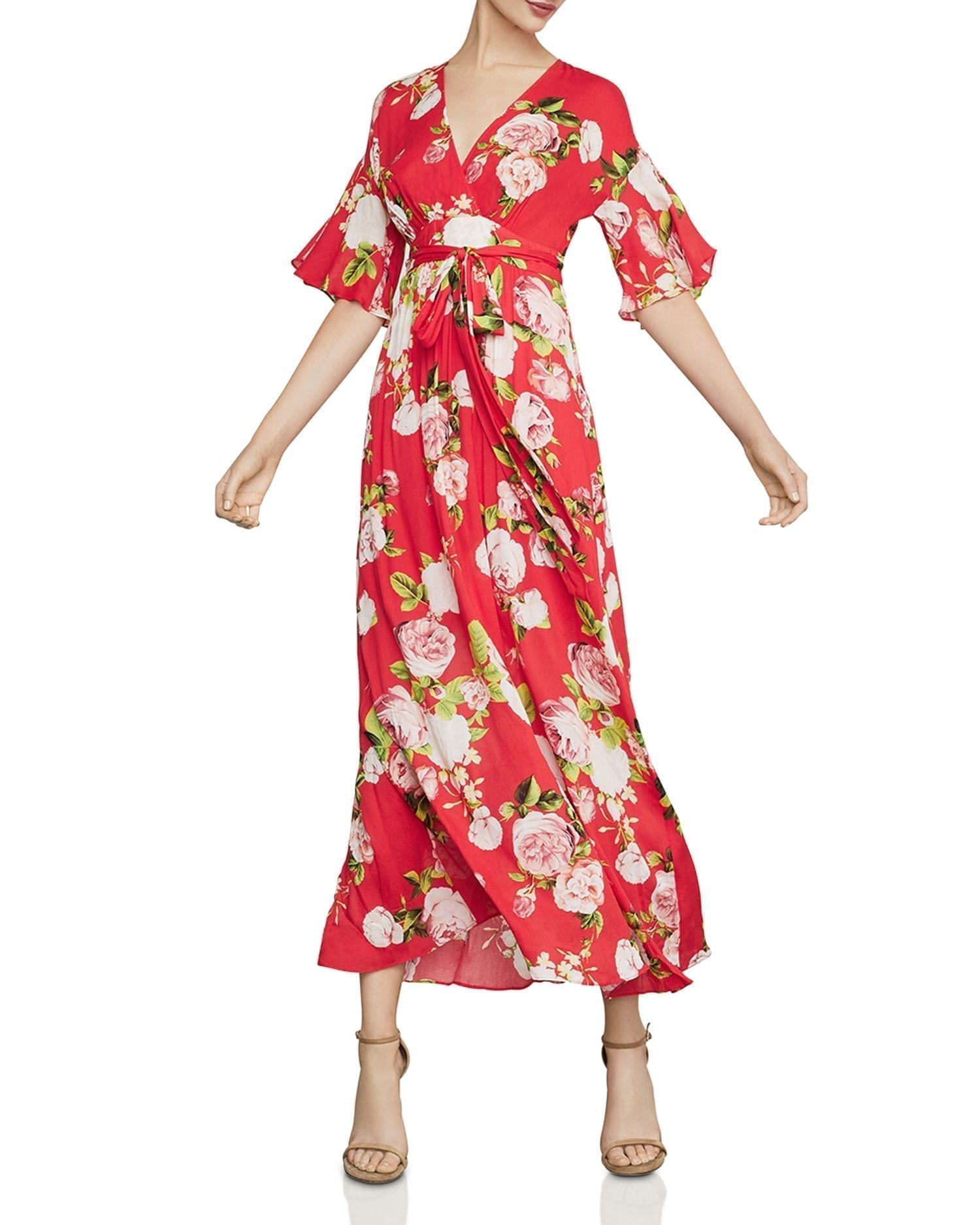 BCBGMAXAZRIA Rose Bloom Kimono Maxi Dress