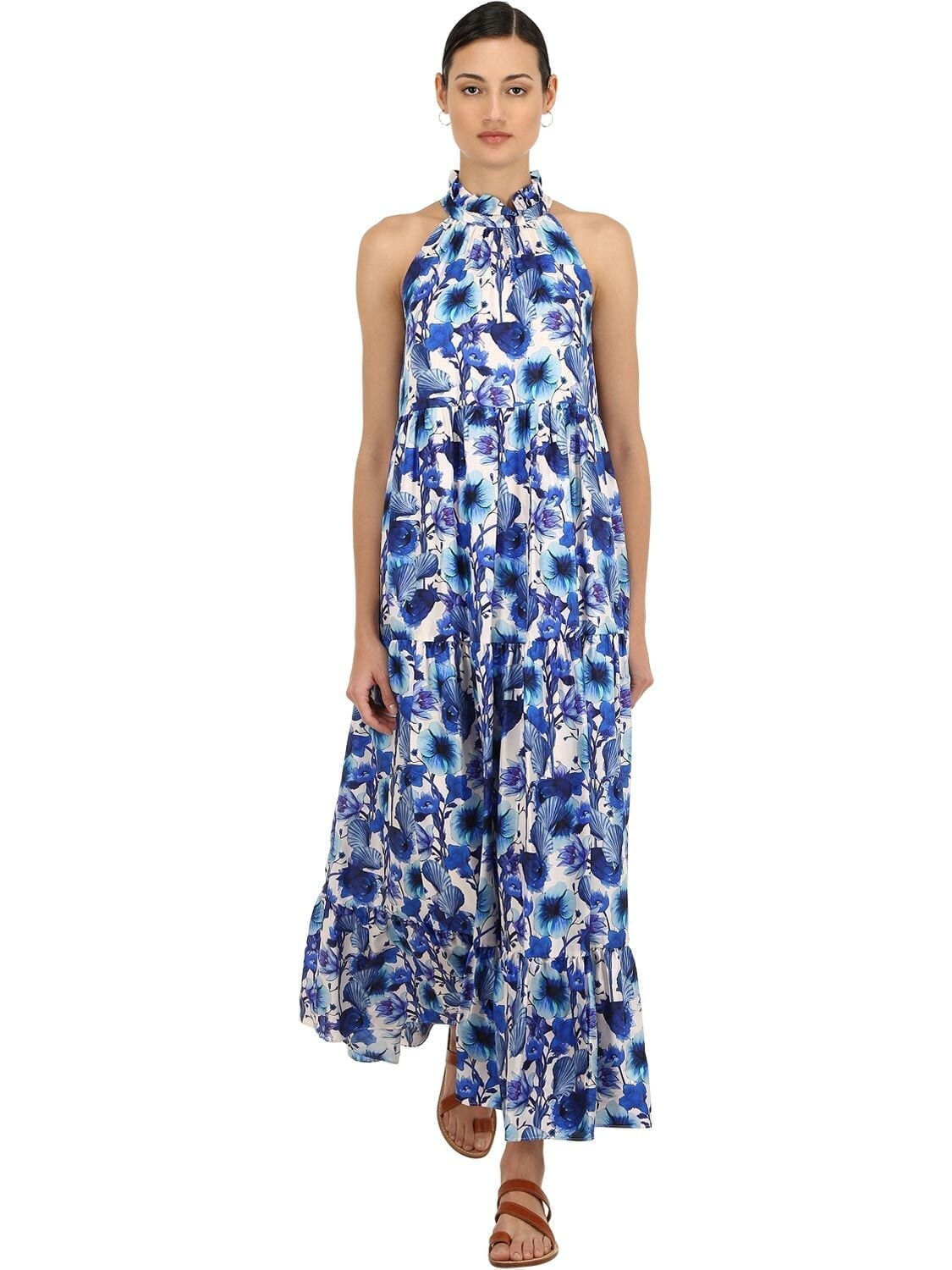 BORGO DE NOR Floral Print Silk Twill Maxi Dress