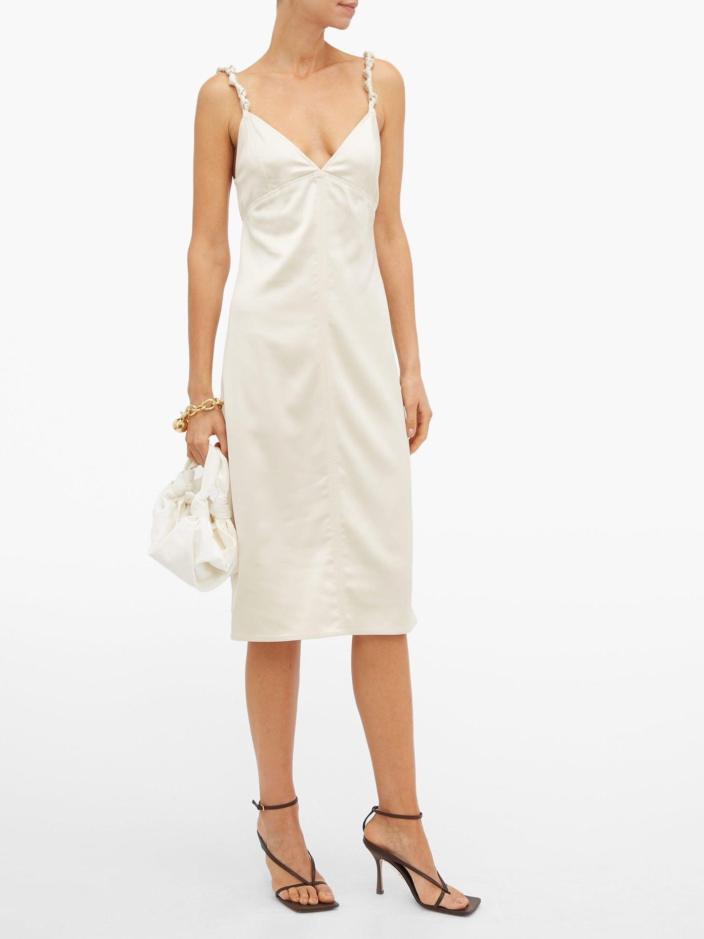 BOTTEGA VENETA Knotted-Strap Satin Pencil Dress