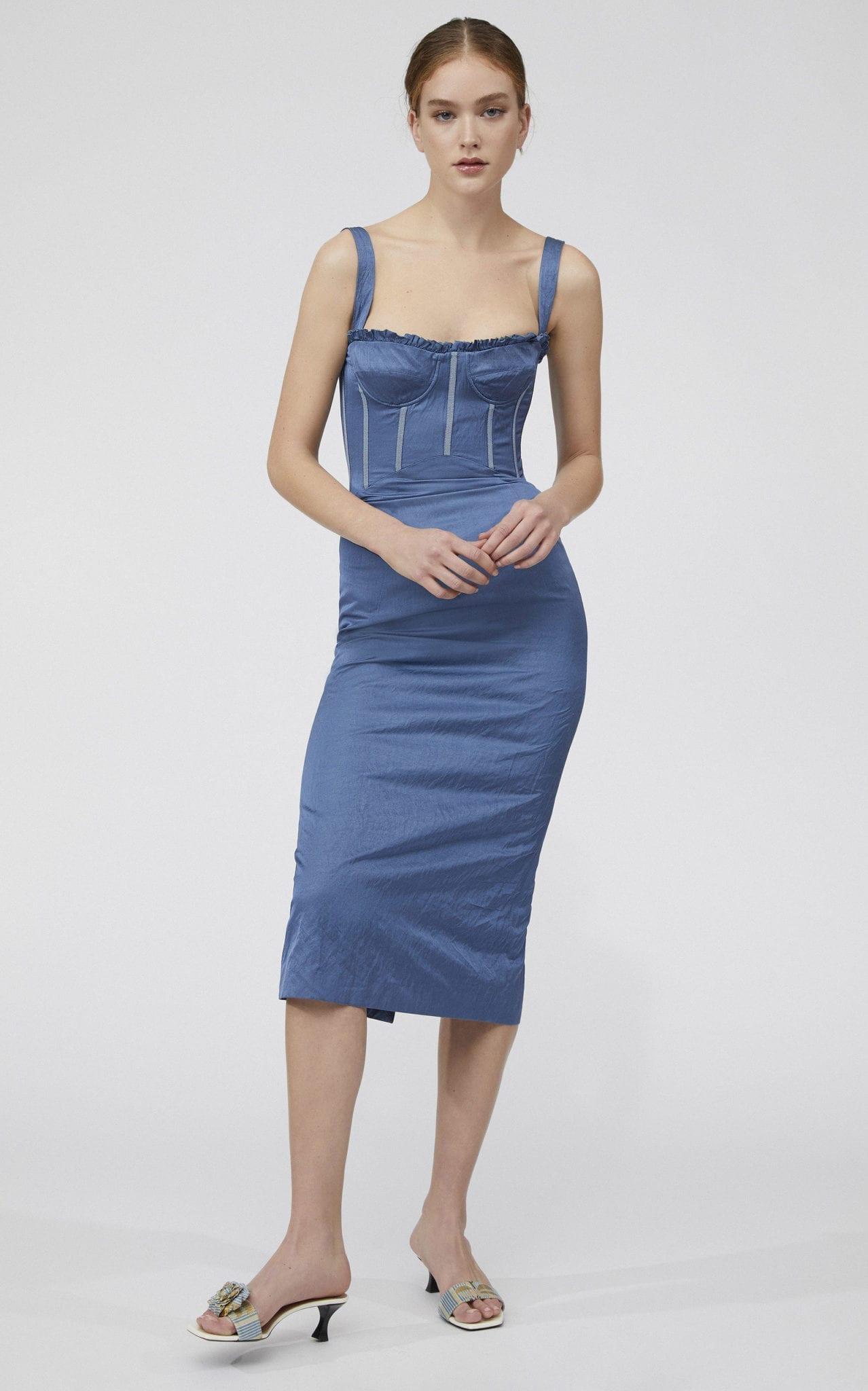 BROCK COLLECTION Pelagia Bustier Crepe De Chine Midi Dress