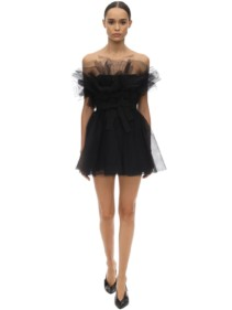 BROGNANO Strapless Ruffled Tulle Mini Dress