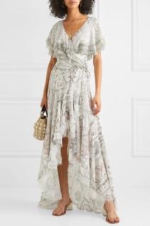 CAMILLA Asymmetric Embellished Printed Silk Wrap Maxi Dress