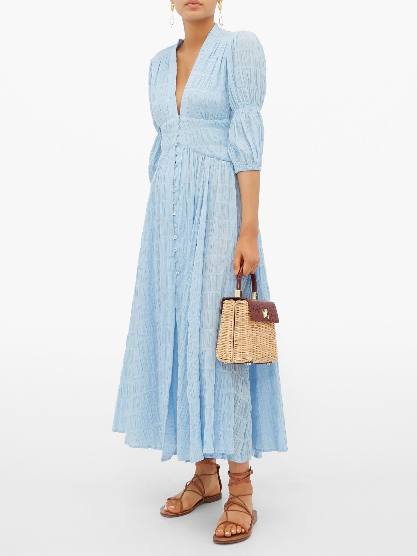 CULT GAIA Willow Ruched Cotton-Blend Maxi Dress