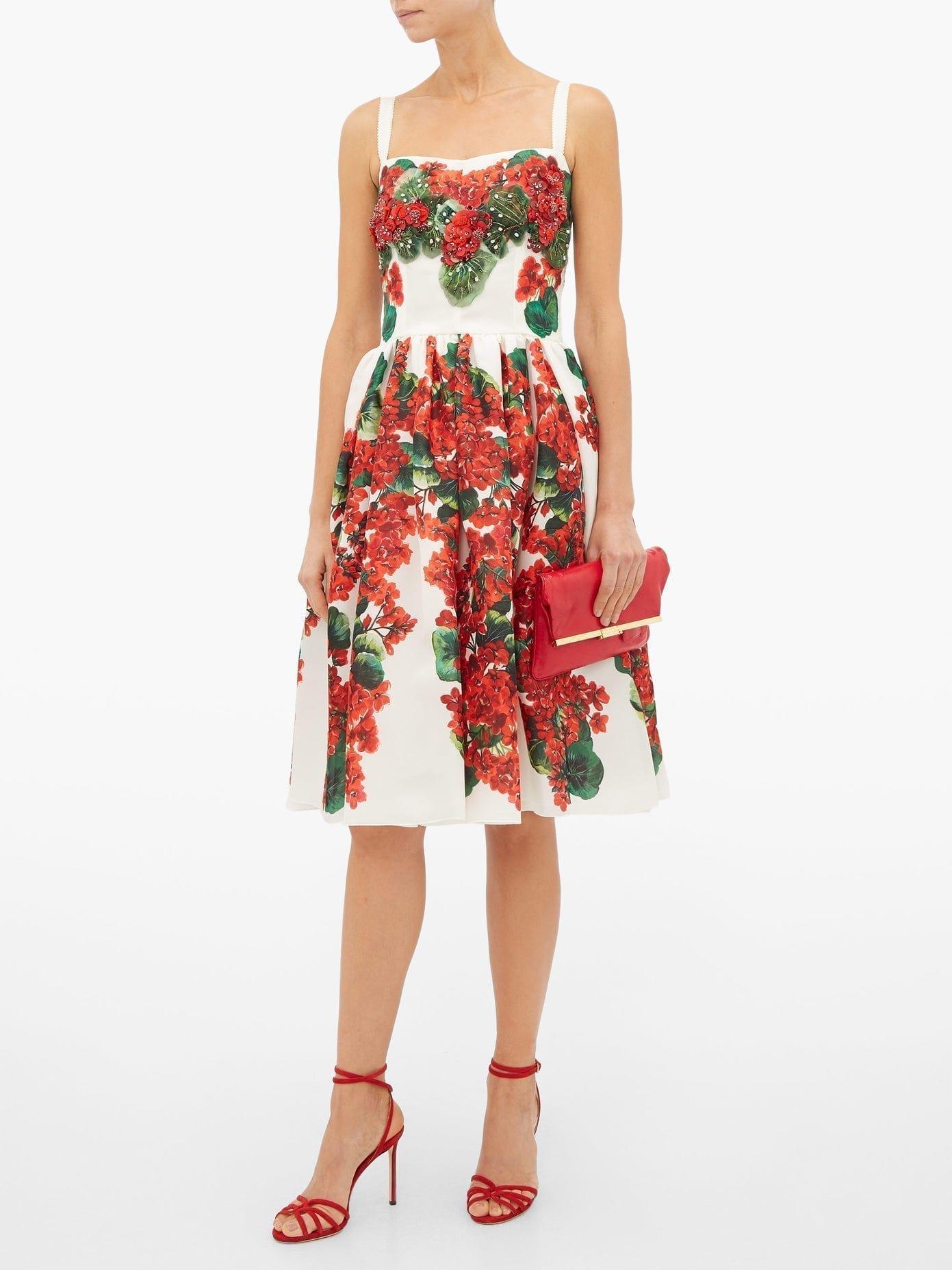 DOLCE & GABBANA Geranium-Print Silk-Organza Dress
