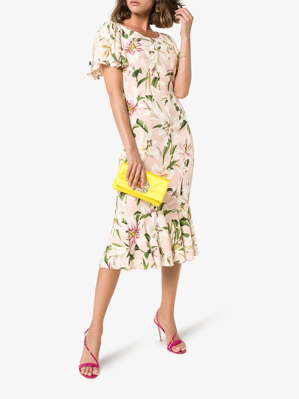DOLCE & GABBANA Lily Print Flounce Silk Dress
