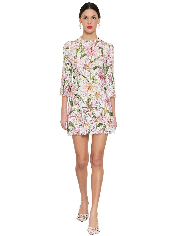 DOLCE & GABBANA Printed Lace Mini Dress