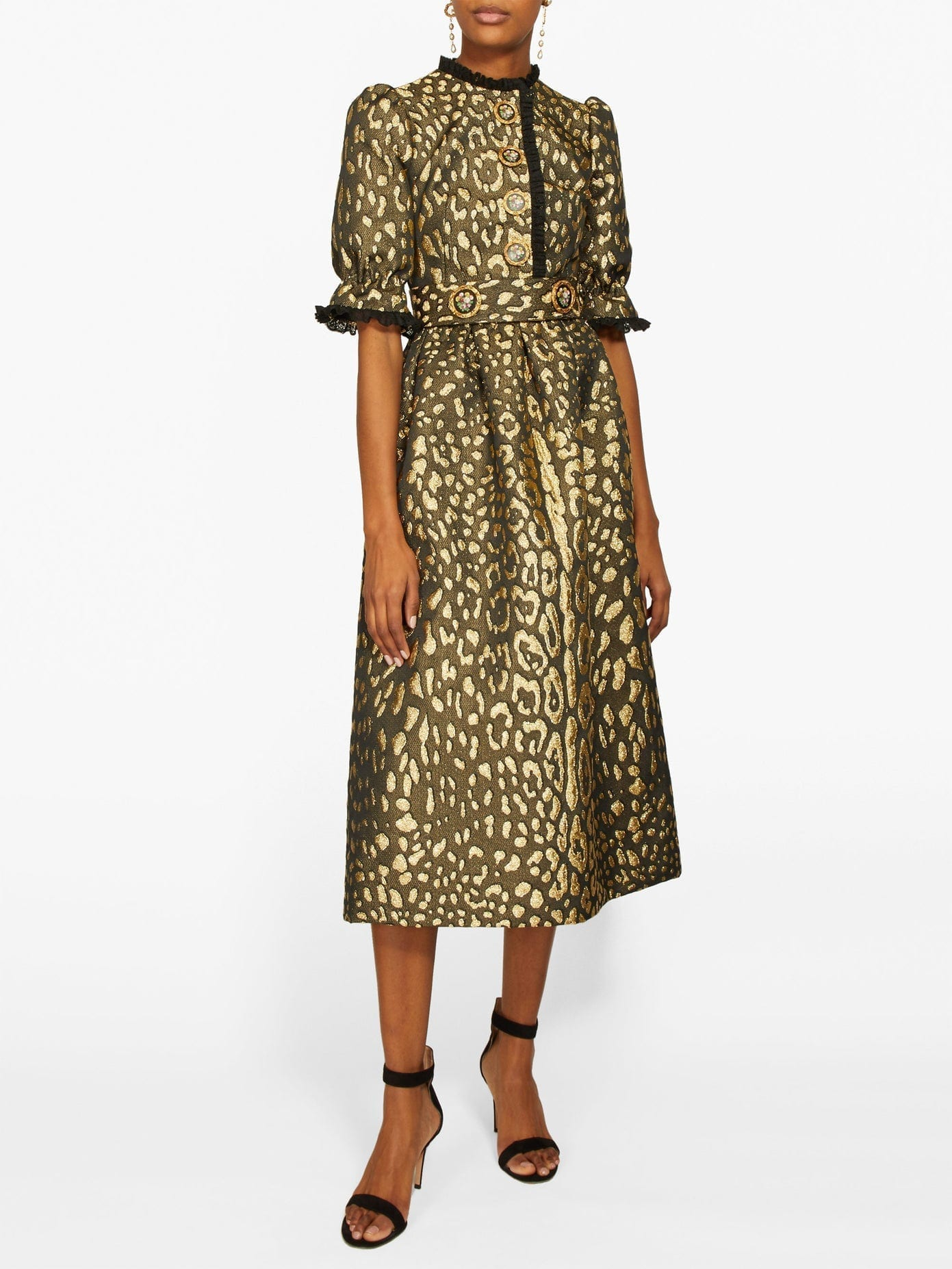 DOLCE & GABBANA Puffed-sleeve Leopard-brocade Midi Dress