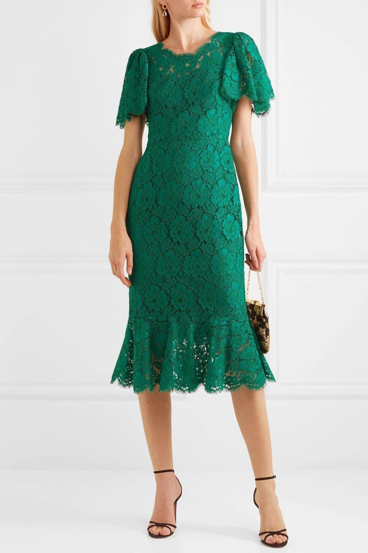 DOLCE & GABBANA Ruffled Corded Lace Midi Dress