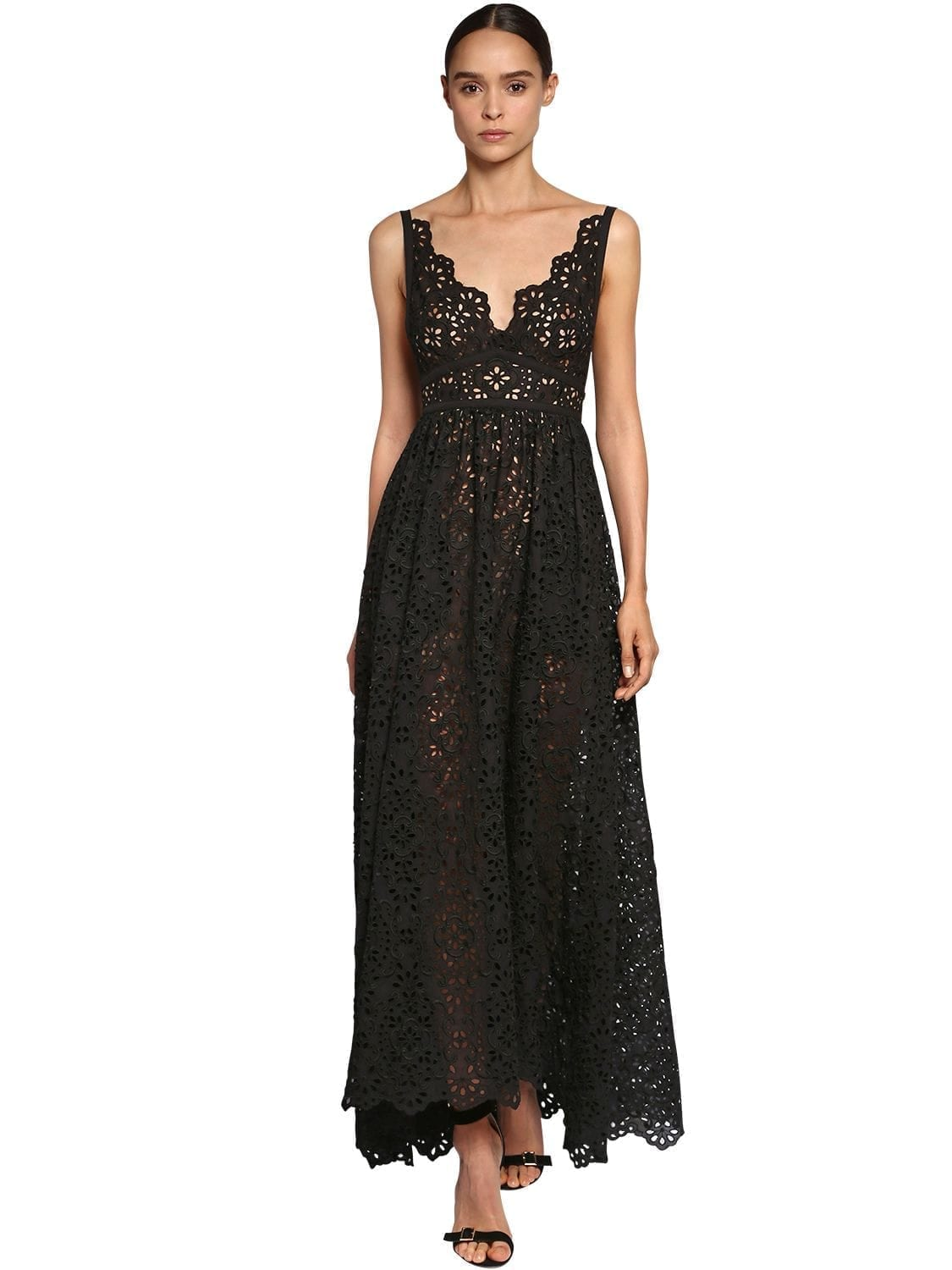 ELIE SAAB Poplin Bow Cotton Blend Lace Dress