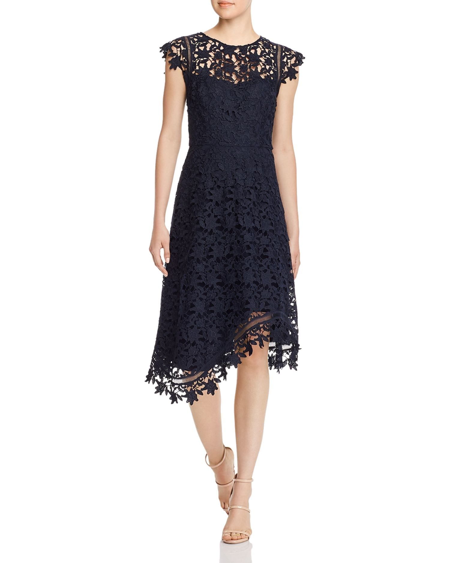 ELIZA J Cap Sleeve Lace Midi Dress