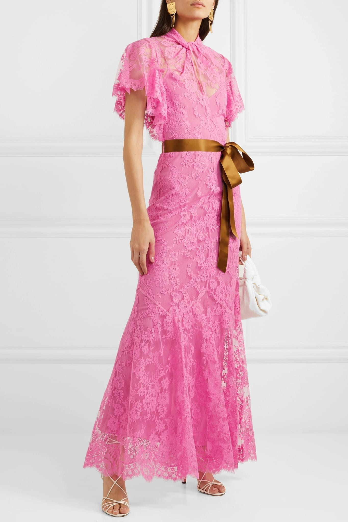ERDEM Celestina Satin-trimmed Cotton-blend Lace Gown
