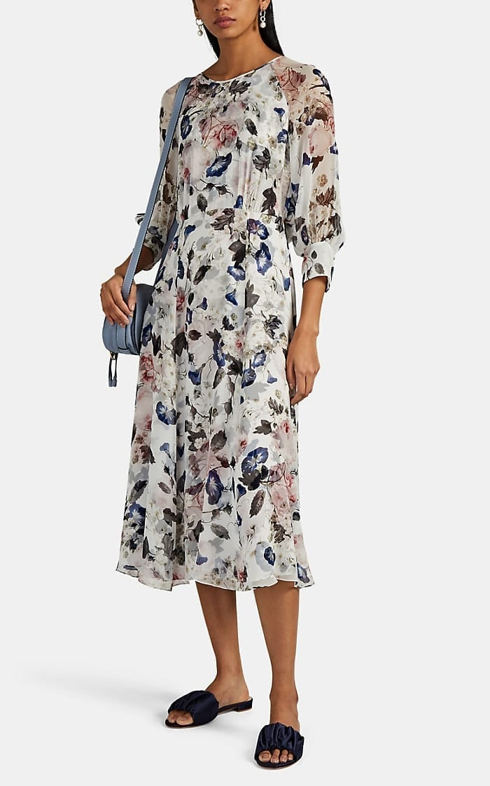 ERDEM Yusra Floral Silk Midi-Dress