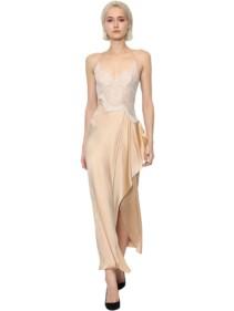 ERMANNO SCERVINO Silk & Lace Midi Slip Dress