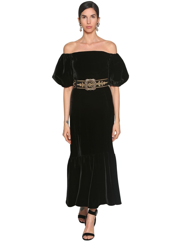 ETRO Off Shoulder Velvet Midi Dress