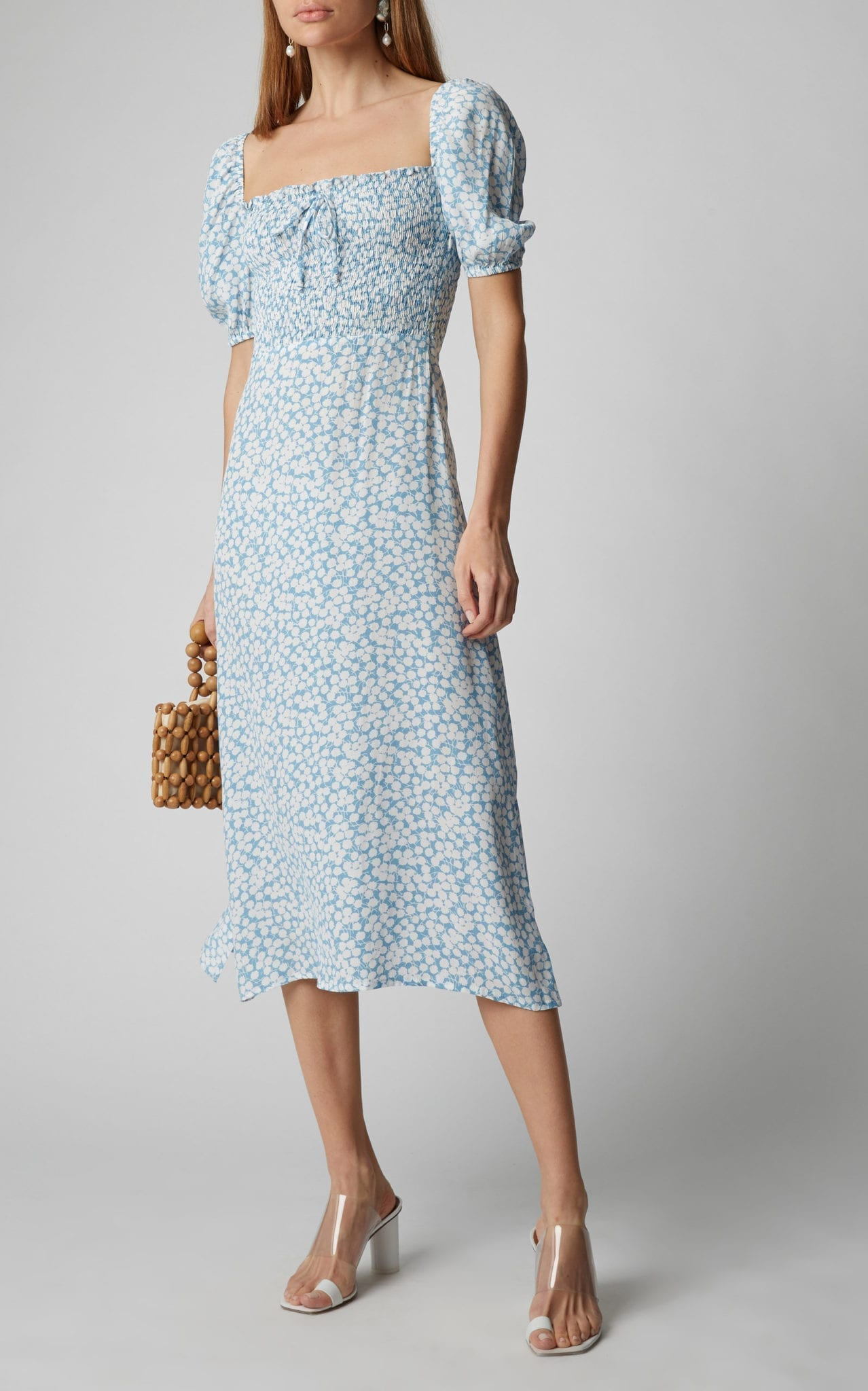 FAITHFULL THE BRAND Majorelle Floral-Print Crepe Midi Dress