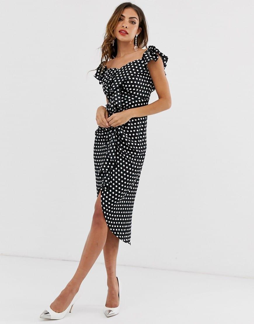 FOREVER U COLLECTION Sweetheart Neckline In Polka Dot Print Wrap Midi Dress
