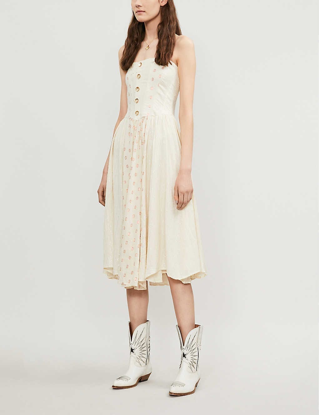 FREE PEOPLE Amanda Strapless Cotton-gauze Midi Dress