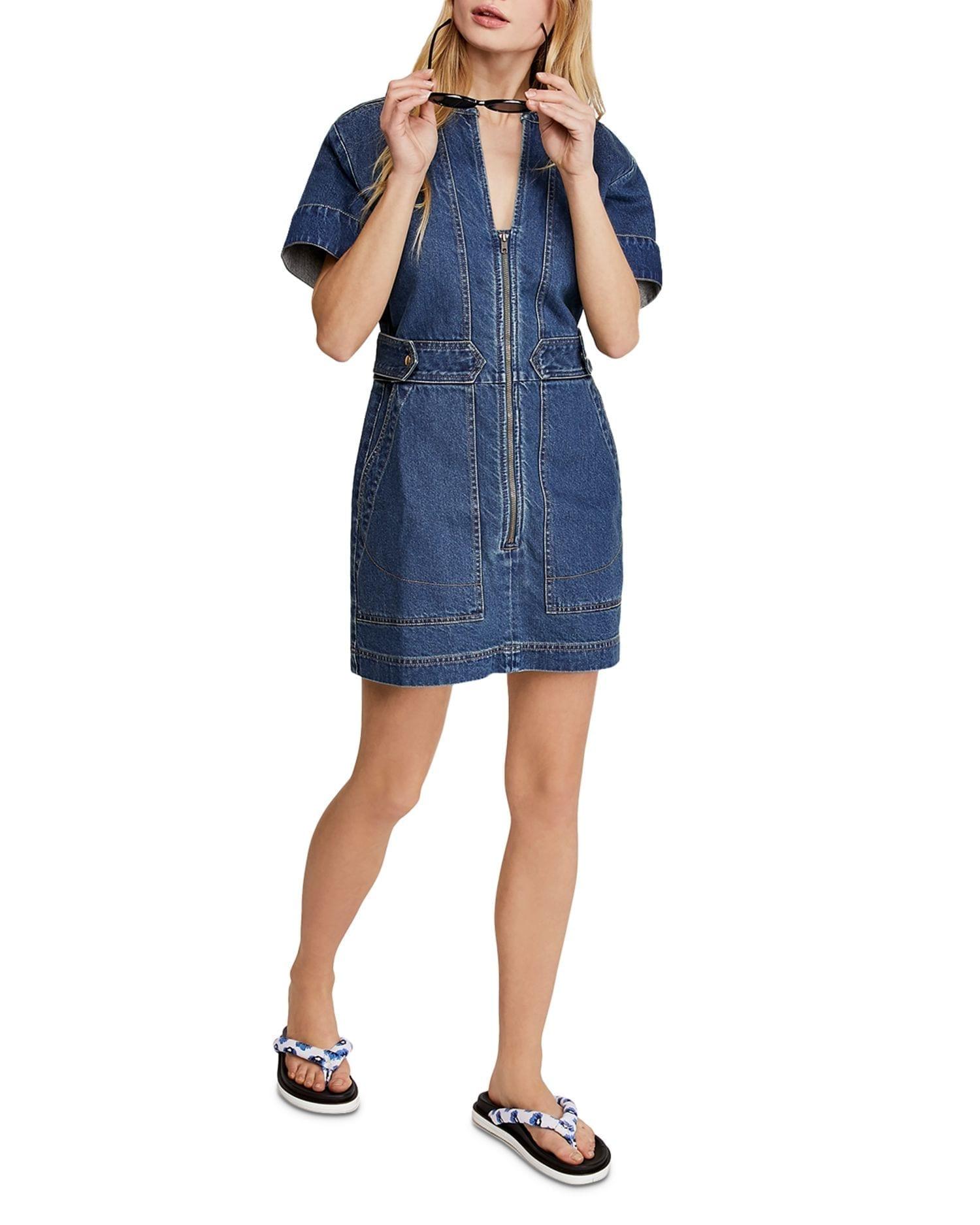 FREE PEOPLE Dream On Denim Mini Dress
