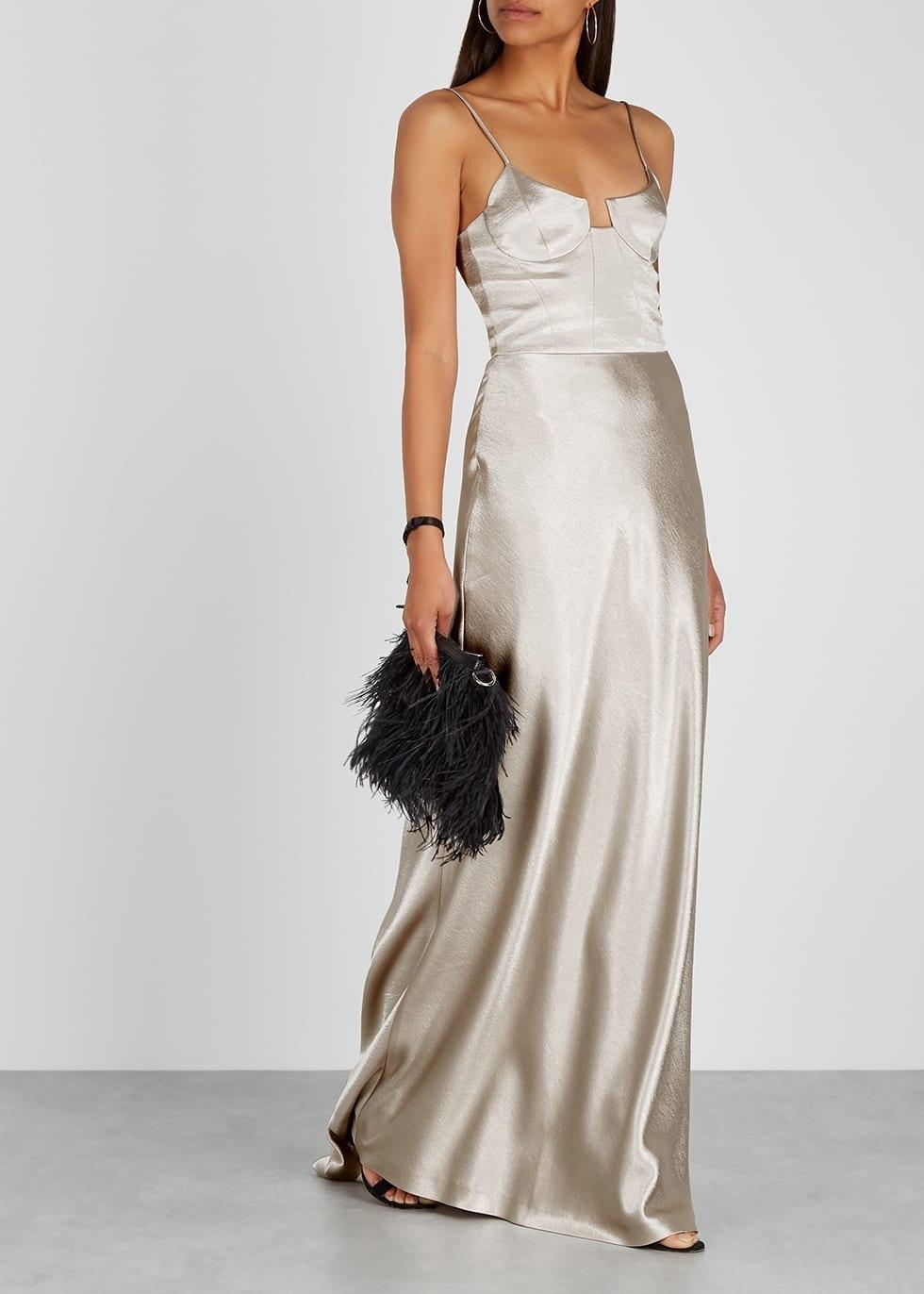 GALVAN Phoebe Champagne Satin Gown