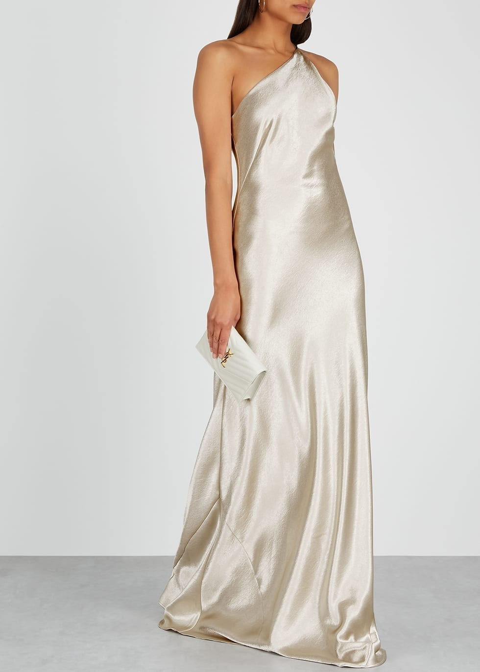 GALVAN Roxy One-shoulder Satin Gown