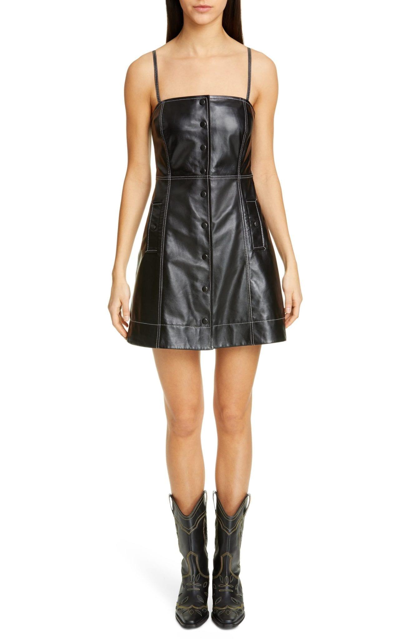 GANNI Lambskin Leather Mini Dress