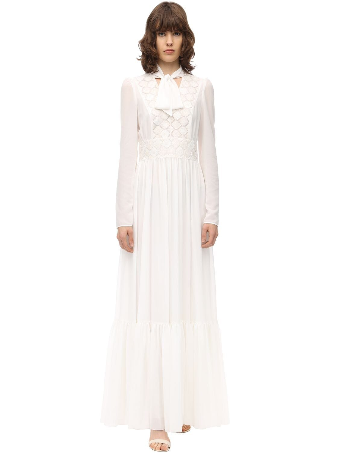 GIAMBA Long Lace Chiffon Dress