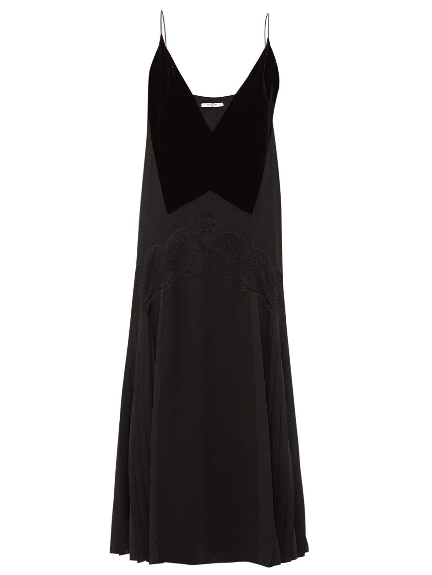 GIVENCHY Lace-trim Pleated Midi Dress