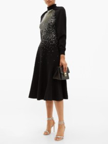 GIVENCHY Sequin-Embellished Wool-Blend Midi Dress