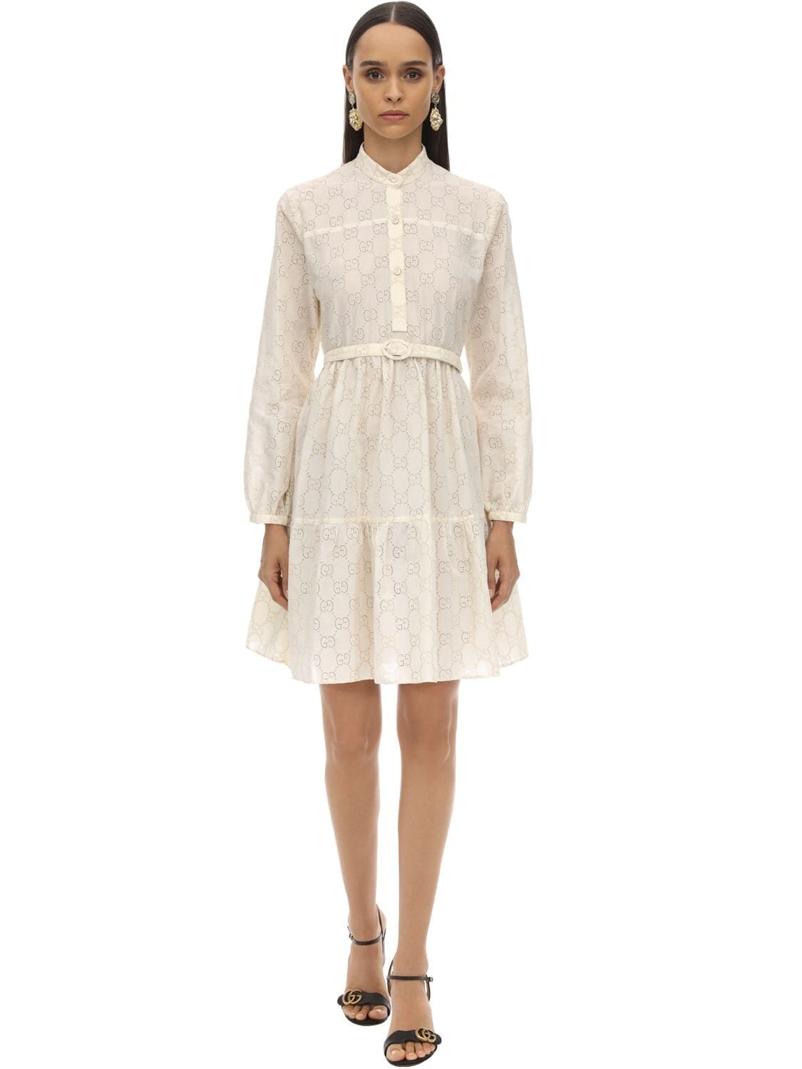 GUCCI Gg Belted Cotton Blend Lace Dress