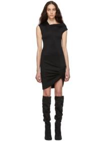 HELMUT LANG Black Front Drape Dress