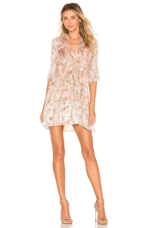 HEMANT AND NANDITA Blush Shimmer Georgette Dress