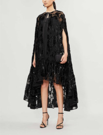 HUISHAN ZHANG Metallic Floral Jacquard Woven And Velvet Cape Dress