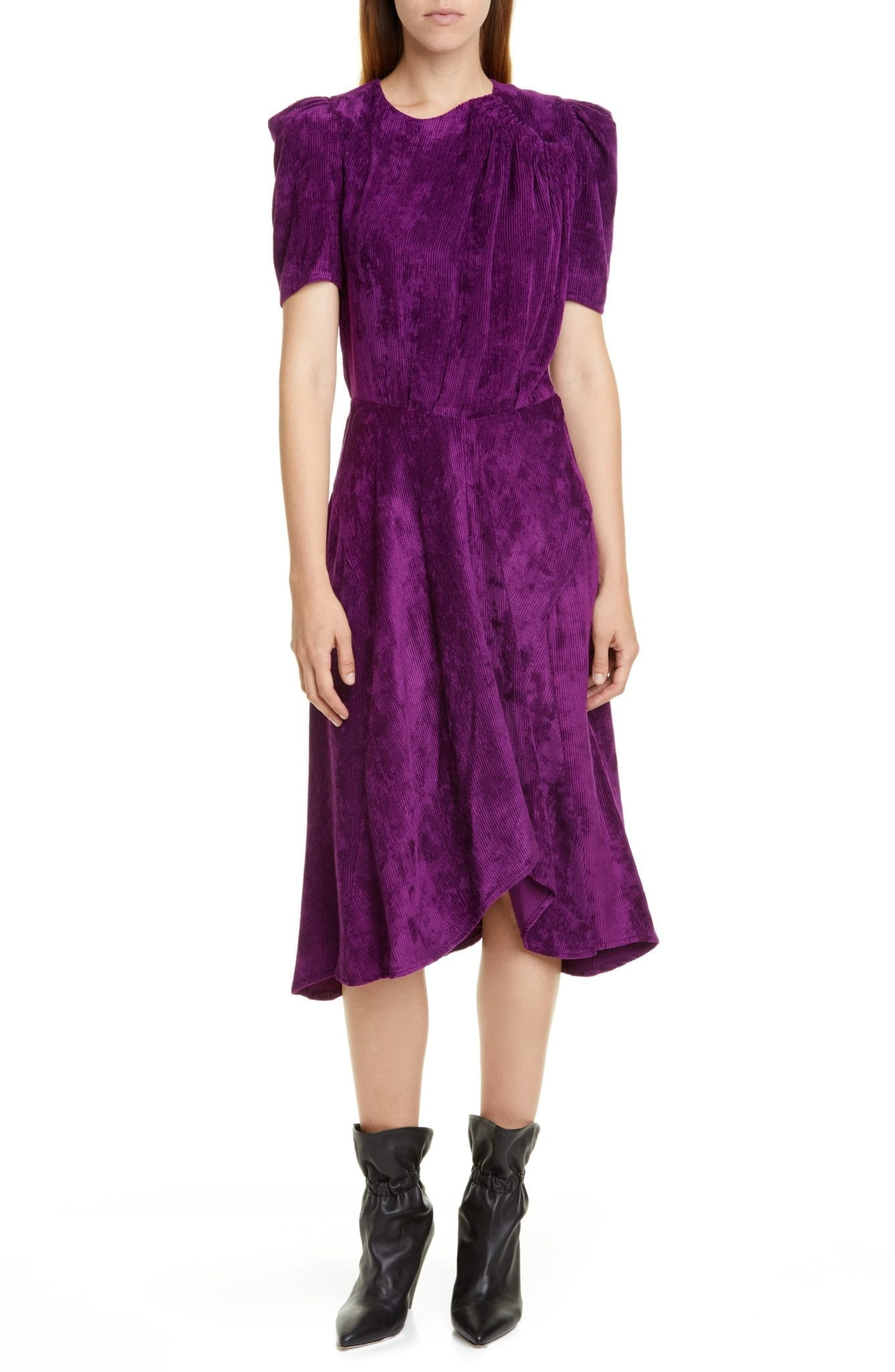 ISABEL MARANT Puff Sleeve Corduroy Dress