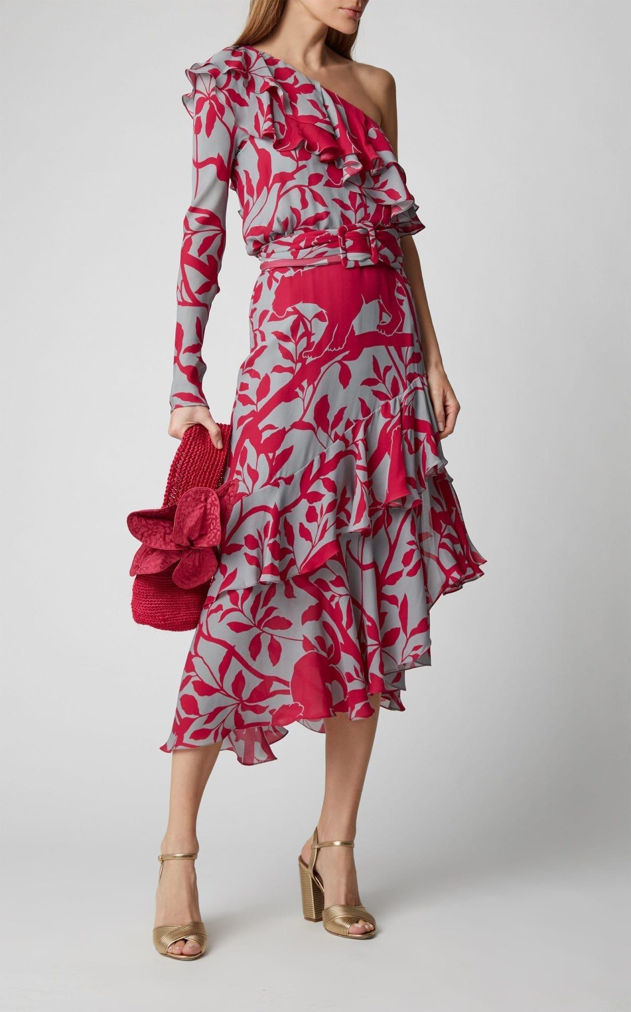 JOHANNA ORTIZ Exclusive Temple Dancer One-Shoulder Ruffled Silk-Georgette Midi Dress