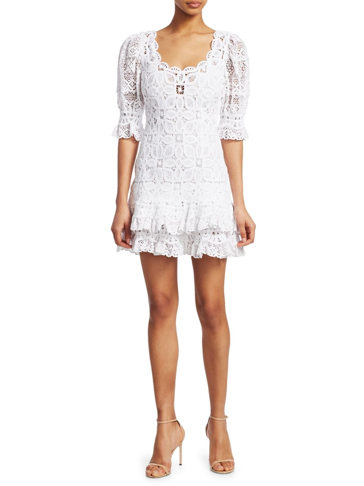 JONATHAN SIMKHAI Crochet Lace Puff-Sleeve Dress