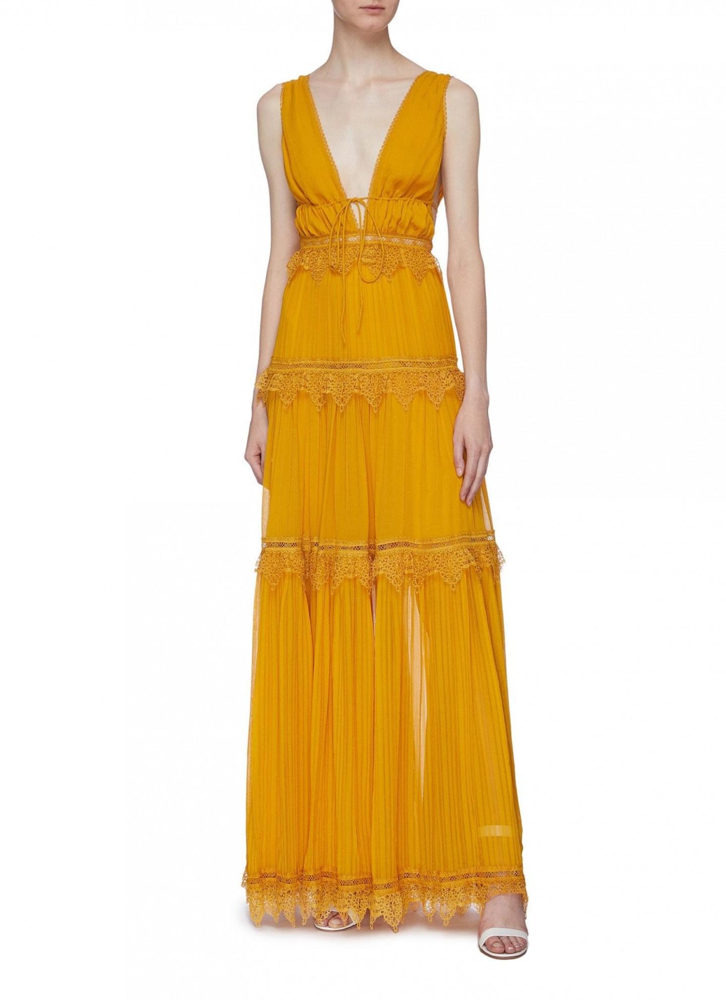 JONATHAN SIMKHAI Lace Trim Tiered Stripe Silk Georgette Dress