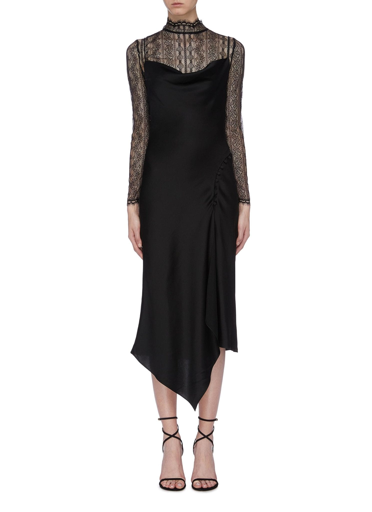 JONATHAN SIMKHAI Lace Turtleneck Panel Sateen Midi Slip Dress